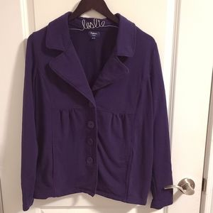Purple button up sweater with collar
